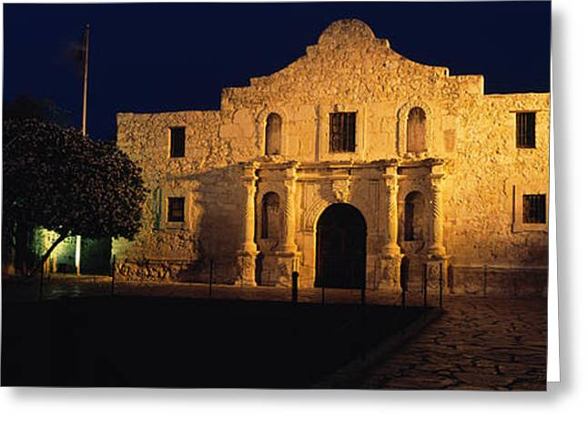Building Lit Up At Night, Alamo, San Greeting Card by Panoramic Images