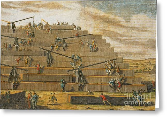 Building Of Pyramids Of Giza, Egypt Greeting Card by Photo Researchers