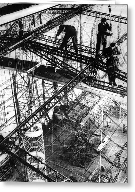 Building Of The Hindenburg Greeting Card by Underwood Archives