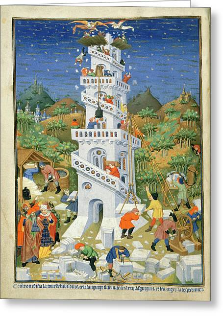 Building Of The Tower Of Babel Greeting Card by British Library
