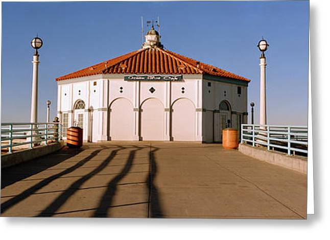 Building On A Pier, Manhattan Beach Greeting Card by Panoramic Images