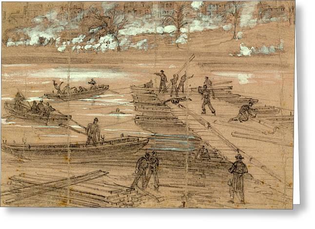 Building Pontoon Bridges At Fredericksburg Dec Greeting Card
