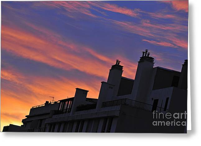 Building Silhouette By Cloudscape At Sunrise Greeting Card by Sami Sarkis