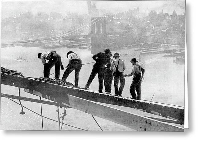 Building The Manhattan Bridge Greeting Card
