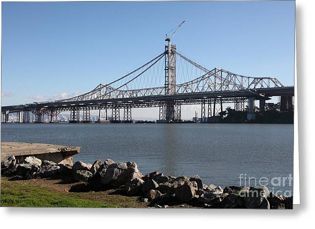 Building The New San Francisco Oakland Bay Bridge - 5d20943 Greeting Card by Wingsdomain Art and Photography