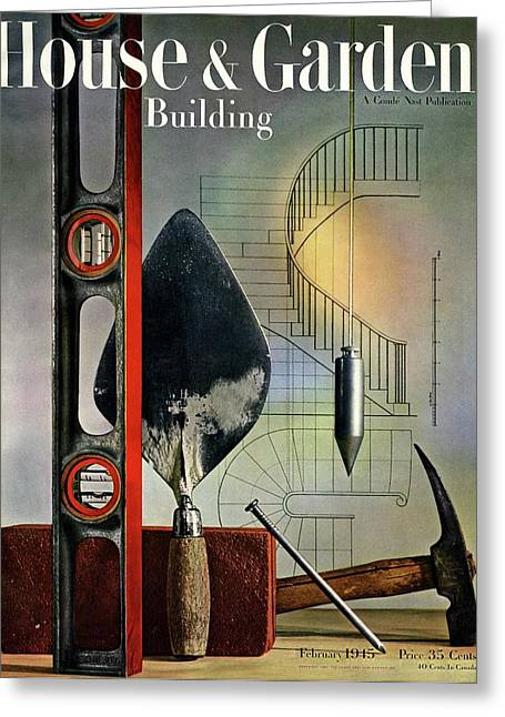 Building Tools Against Stairs Greeting Card