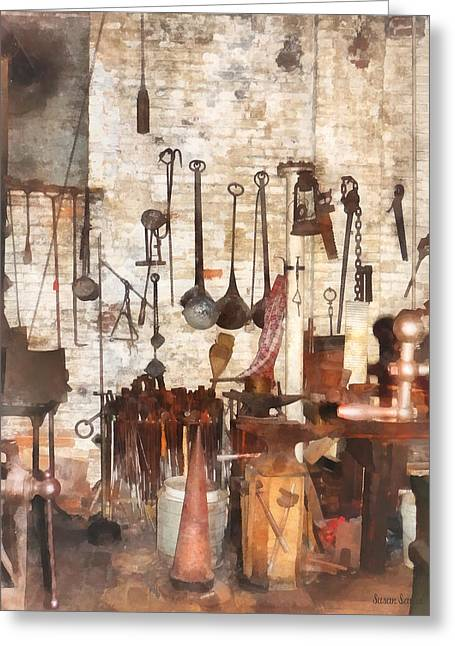 Building Trades - Hand Tools In Machine Shop Greeting Card by Susan Savad