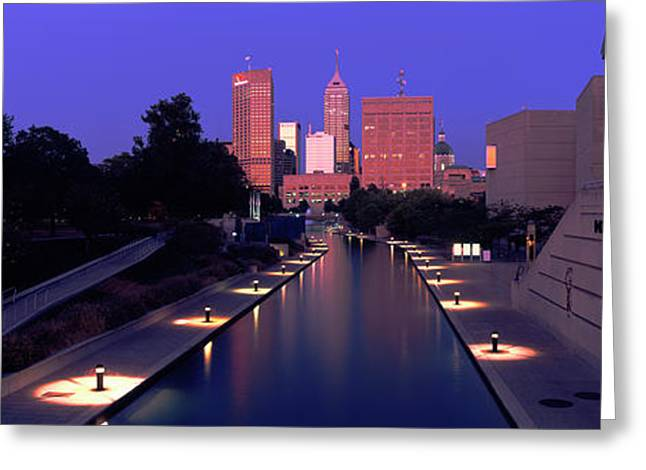 Buildings Along A Canal, Indiana Greeting Card