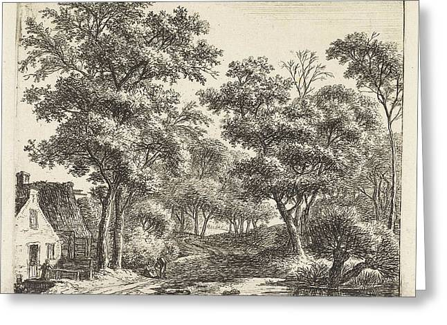 Buildings Along A Forest Trail, Anthonie Waterloo Greeting Card