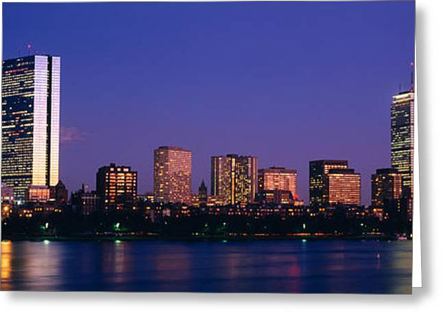 Buildings Along A River, Charles River Greeting Card