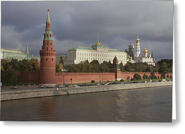 Buildings Along A River, Grand Kremlin Greeting Card by Panoramic Images
