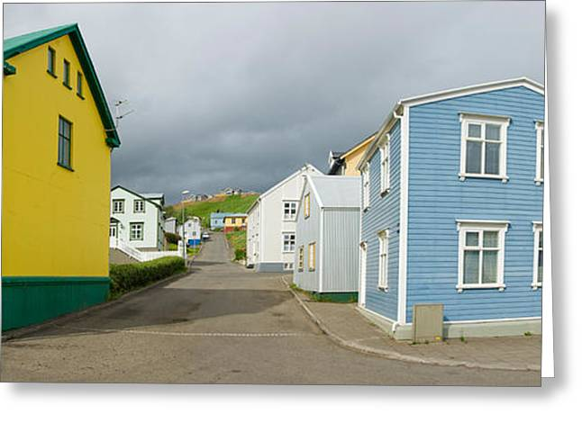 Buildings Along A Street, Akureyri Greeting Card by Panoramic Images