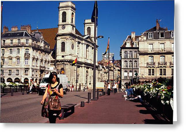 Buildings Along A Street, Besancon Greeting Card by Panoramic Images