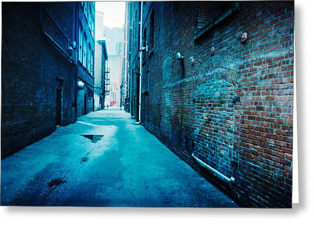 Buildings Along An Alley, Pioneer Greeting Card by Panoramic Images