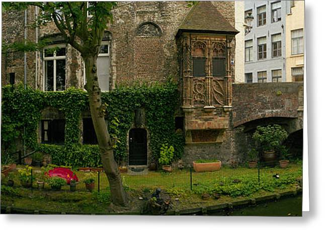 Buildings Along Channel, Bruges, West Greeting Card by Panoramic Images