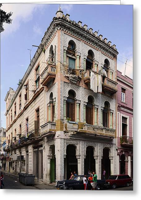 Buildings Along The Street, Havana, Cuba Greeting Card by Panoramic Images