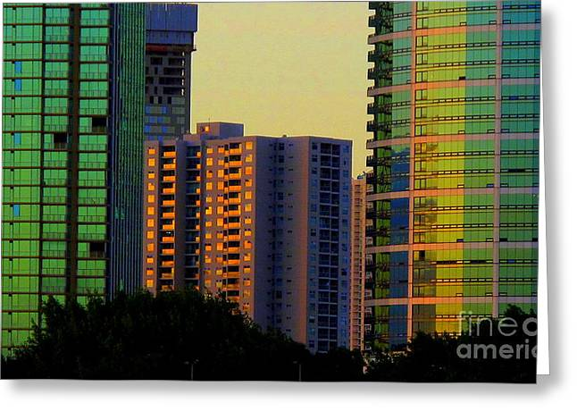 Buildings At Sunset Greeting Card