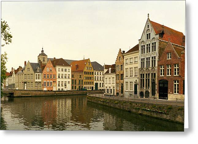 Buildings At The Waterfront, Bruges Greeting Card by Panoramic Images