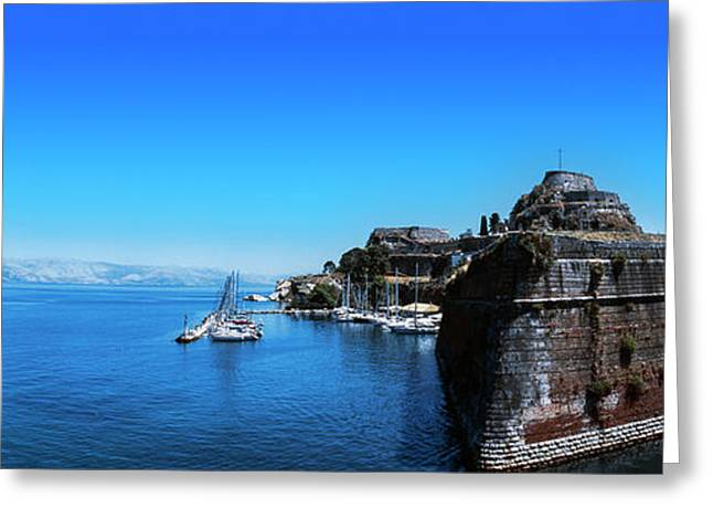 Buildings At The Waterfront, Corfu Greeting Card by Panoramic Images
