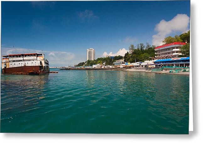 Buildings At The Waterfront, Lighthouse Greeting Card by Panoramic Images