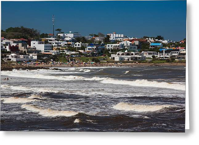 Buildings At The Waterfront, Playa La Greeting Card by Panoramic Images
