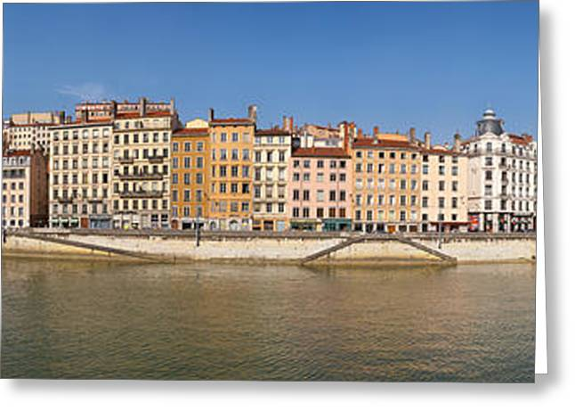 Buildings At The Waterfront, Saone Greeting Card by Panoramic Images