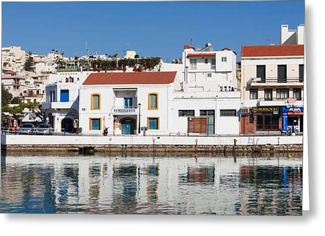 Buildings At Waterfront, Agios Greeting Card by Panoramic Images