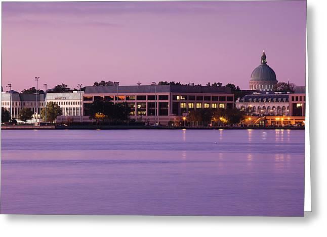 Buildings At Waterfront, Us Naval Greeting Card