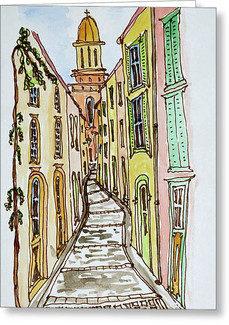 Buildings Crowd The Narrow Streets Greeting Card