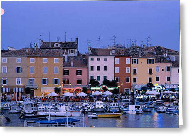 Buildings, Evening, Moonrise, Rovinj Greeting Card by Panoramic Images