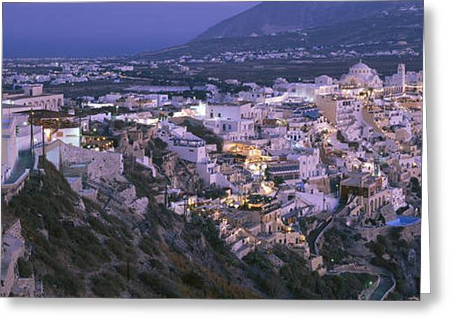 Buildings, Houses, Night, Fira Greeting Card