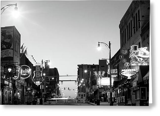 Buildings In A City At Dusk, Beale Greeting Card by Panoramic Images