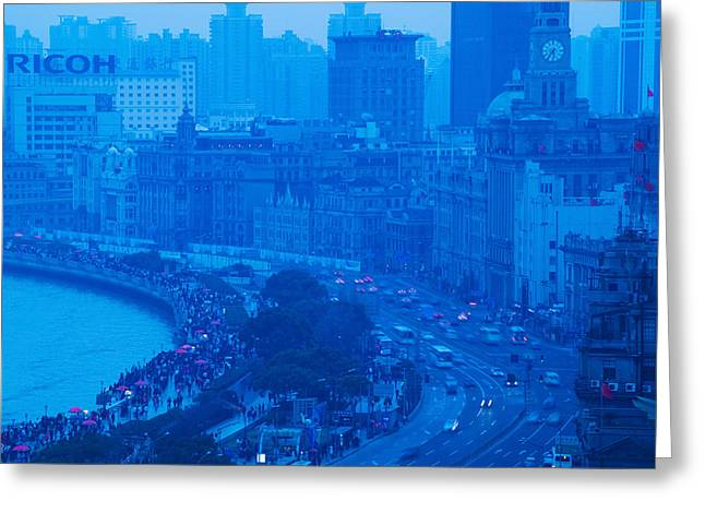 Buildings In A City At Dusk, The Bund Greeting Card
