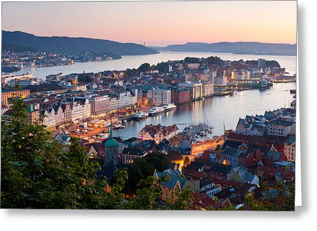Buildings In A City, Bergen, Hordaland Greeting Card by Panoramic Images