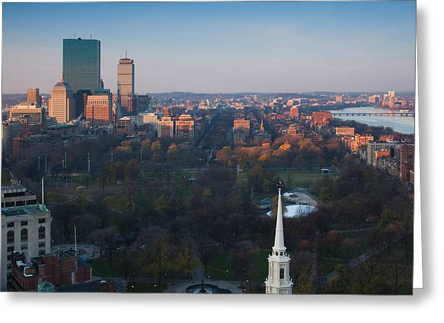 Buildings In A City, Boston Common Greeting Card by Panoramic Images