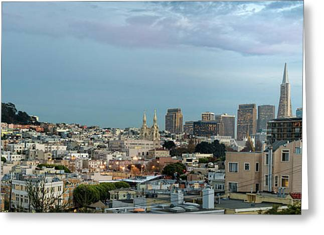 Buildings In A City, Coit Tower, San Greeting Card