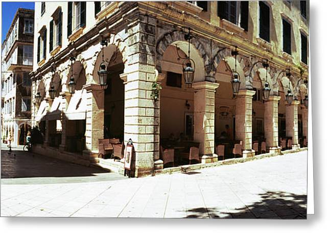 Buildings In A City, Corfu, Ionian Greeting Card by Panoramic Images