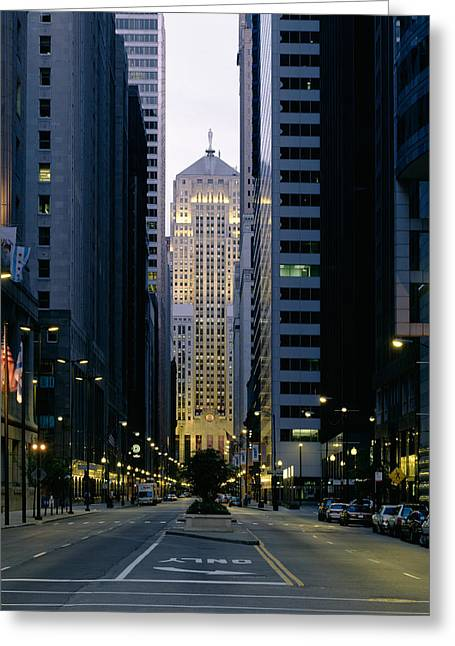Buildings In A City, Lasalle Street Greeting Card by Panoramic Images