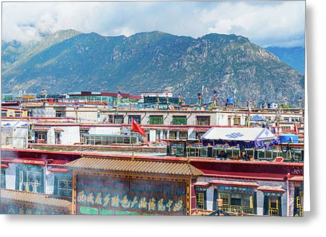Buildings In A City, Lhasa, Tibet, China Greeting Card