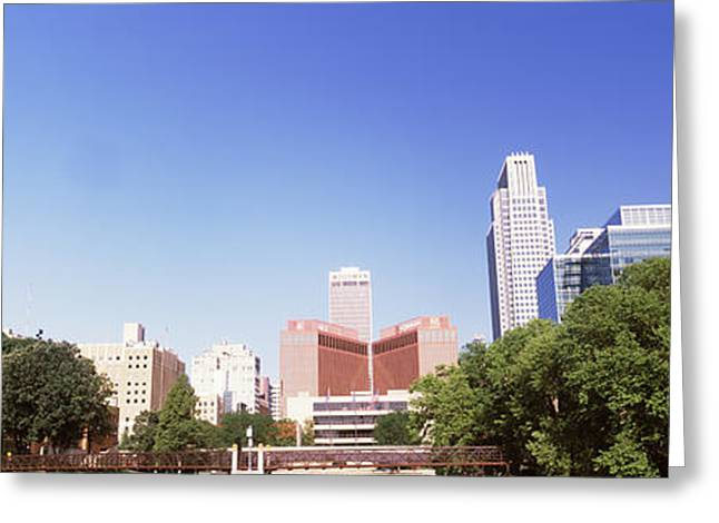 Buildings In A City, Qwest Building Greeting Card by Panoramic Images