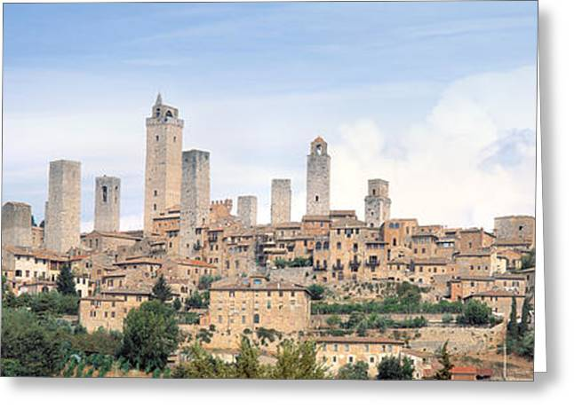 Buildings In A City, San Gimignano Greeting Card