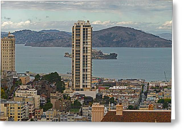 Buildings In A City With Alcatraz Greeting Card by Panoramic Images