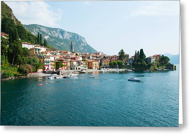 Buildings In A Town At The Waterfront Greeting Card by Panoramic Images