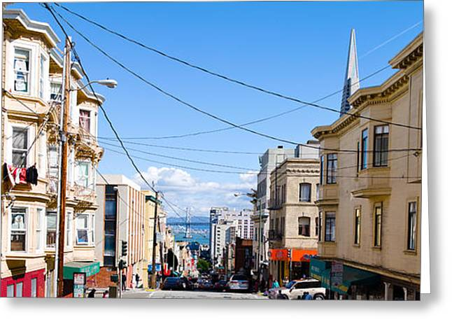 Buildings In City With Bay Bridge Greeting Card by Panoramic Images