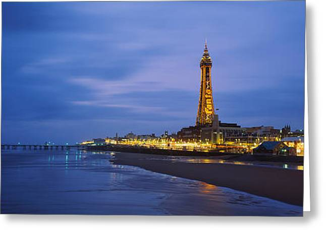 Buildings Lit Up At Dusk, Blackpool Greeting Card by Panoramic Images