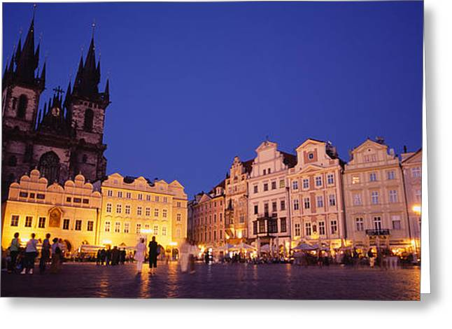 Buildings Lit Up At Dusk, Prague Old Greeting Card by Panoramic Images