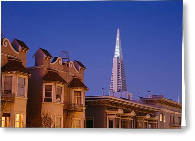 Buildings Lit Up At Dusk, Transamerica Greeting Card by Panoramic Images