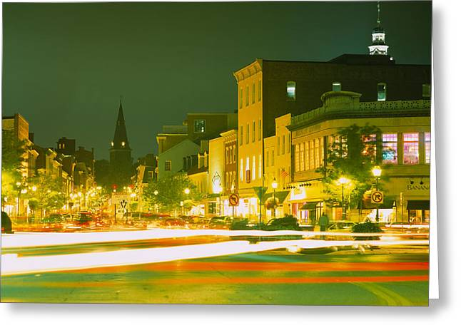 Buildings Lit Up At Night, Annapolis Greeting Card by Panoramic Images