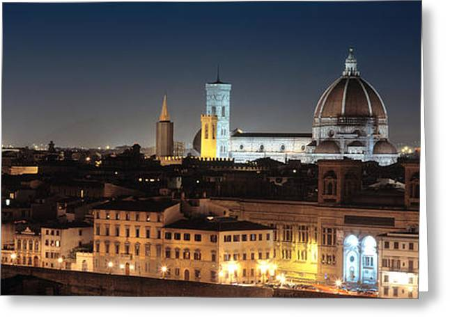Buildings Lit Up At Night, Florence Greeting Card by Panoramic Images
