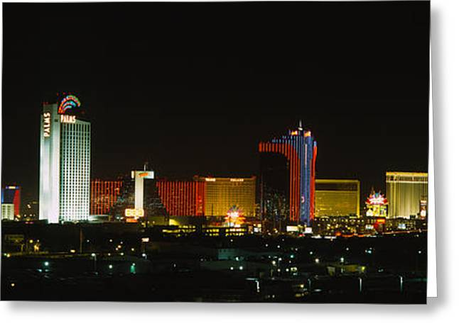 Buildings Lit Up At Night In A City Greeting Card